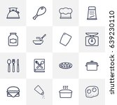 set of 16 kitchen outline icons ... | Shutterstock .eps vector #639230110