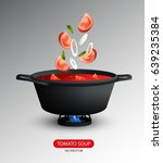 realistic tomato soup cooking... | Shutterstock .eps vector #639235384