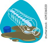 plastic bottle and cap in dirty ... | Shutterstock .eps vector #639236020