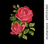 red roses embroidery on black... | Shutterstock .eps vector #639251464