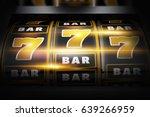 Vegas Slot Winner 3D Concept Illustration. Classic Las Vegas Style Slot Machine Closeup. Golden Black Theme. - stock photo