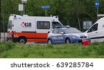 Small photo of Faenza, Italy - May 2017. Ambulance 118 and police 112 respond to an emergency situation