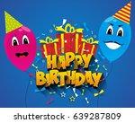 happy birthday greeting card... | Shutterstock .eps vector #639287809