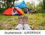 traveler hiking boots near...   Shutterstock . vector #639295414
