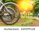 bicycle wheels with orange... | Shutterstock . vector #639299128