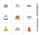 clothes colorful outline icons... | Shutterstock .eps vector #639303814