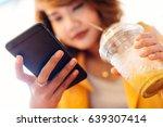 close up asian girl wearing... | Shutterstock . vector #639307414