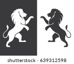 Two Heraldic Rampant Lion...