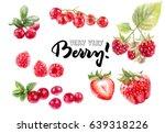 berries watercolor set... | Shutterstock . vector #639318226