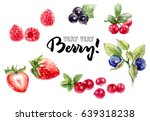 berries watercolor set... | Shutterstock . vector #639318238