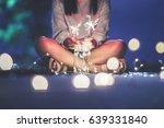 sparkler and glass bottles...   Shutterstock . vector #639331840