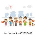 three generation family... | Shutterstock .eps vector #639350668