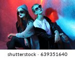 fashion portrait of two young... | Shutterstock . vector #639351640