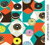 pattern of donuts with... | Shutterstock .eps vector #639357103