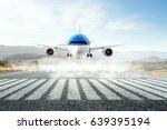 airplane over runway. mixed... | Shutterstock . vector #639395194