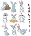 cartoon rabbit with different... | Shutterstock .eps vector #639401629