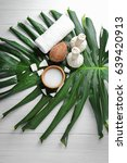 spa composition with coconut... | Shutterstock . vector #639420913
