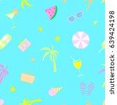 summer seamless pattern raster | Shutterstock . vector #639424198