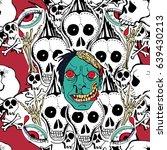 seamless pattern. crazy zombie... | Shutterstock . vector #639430213