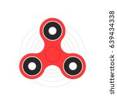 red hand spinner or fidget toy. ... | Shutterstock .eps vector #639434338