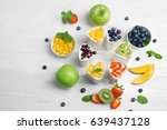 bowls from automatic yogurt... | Shutterstock . vector #639437128