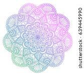 vector colorful mandala doodle... | Shutterstock .eps vector #639445990