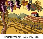 vineyard with bunches of ripe... | Shutterstock .eps vector #639447286