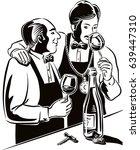 two wine taster intent to taste ...   Shutterstock .eps vector #639447310