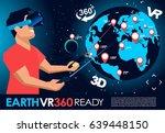 vr earth 360 degrees  sticker... | Shutterstock .eps vector #639448150