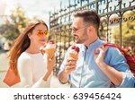 beautiful young couple enjoying ... | Shutterstock . vector #639456424