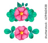set of colorful floral... | Shutterstock . vector #639460438