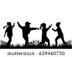 silhouette of children play... | Shutterstock .eps vector #639460750