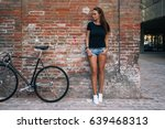 an outdoor portrait of a young... | Shutterstock . vector #639468313