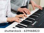woman teaching little girl to... | Shutterstock . vector #639468823