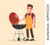 man is cooking a barbecue grill.... | Shutterstock .eps vector #639472114