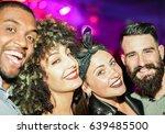 happy friends taking selfie  in ... | Shutterstock . vector #639485500