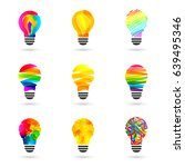 lightbulb made of paint and... | Shutterstock .eps vector #639495346