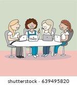 girls working laptop station | Shutterstock .eps vector #639495820