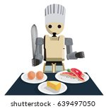 humanoid robot chef cooking and ...   Shutterstock .eps vector #639497050