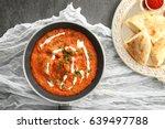 murgh makhani in frying pan on... | Shutterstock . vector #639497788