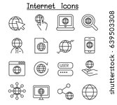 internet technology icon set in ... | Shutterstock .eps vector #639503308