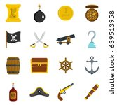 pirate icons set in flat style... | Shutterstock . vector #639513958