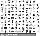 100 stadium icons set in simple ... | Shutterstock . vector #639516670