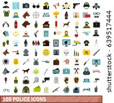 100 police icons set in flat... | Shutterstock . vector #639517444