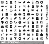 100 lunch icons set in simple... | Shutterstock . vector #639518806