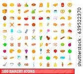 100 bakery icons set in cartoon ... | Shutterstock . vector #639522370