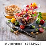 healthy chickpea and veggies... | Shutterstock . vector #639524224