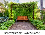 bench in the home garden.... | Shutterstock . vector #639535264