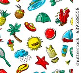 summer objects seamless pattern.... | Shutterstock .eps vector #639538558