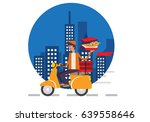 pizza delivery boy riding motor ... | Shutterstock .eps vector #639558646